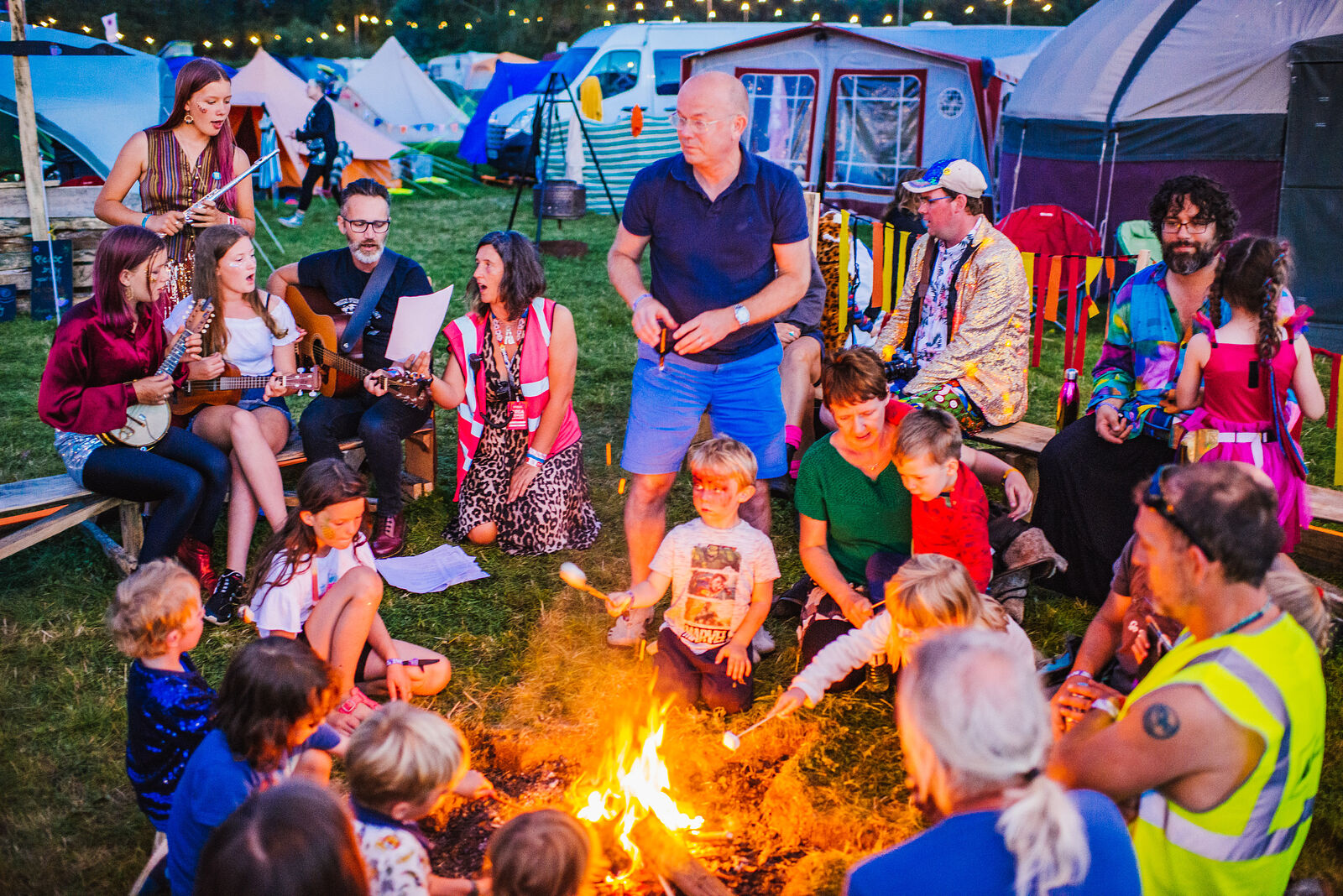 Campfire singing with  Simon Allen