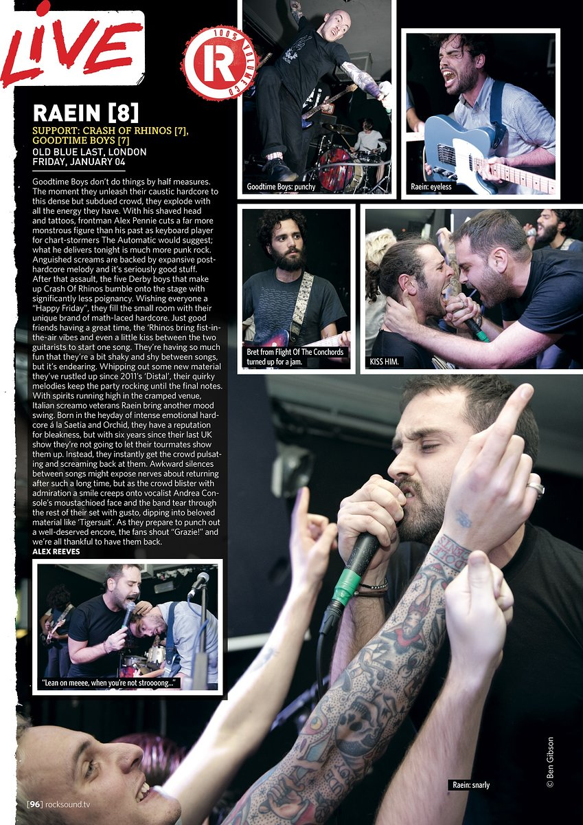 Raein // Rock Sound, March 2013