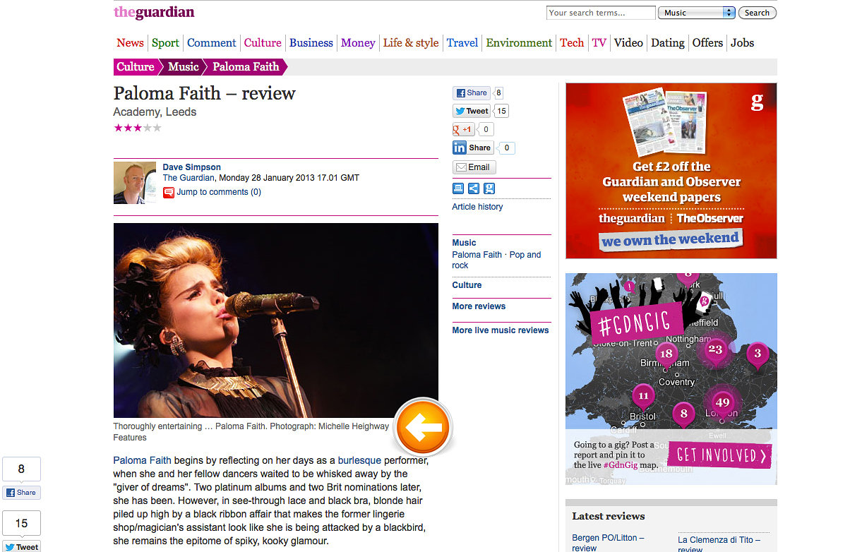 Paloma Faith, Leeds Featured in The Guardian