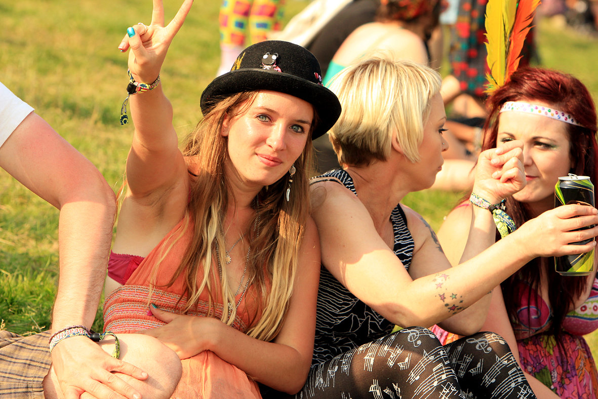 Beat Herder 2013 festival goers peace sign