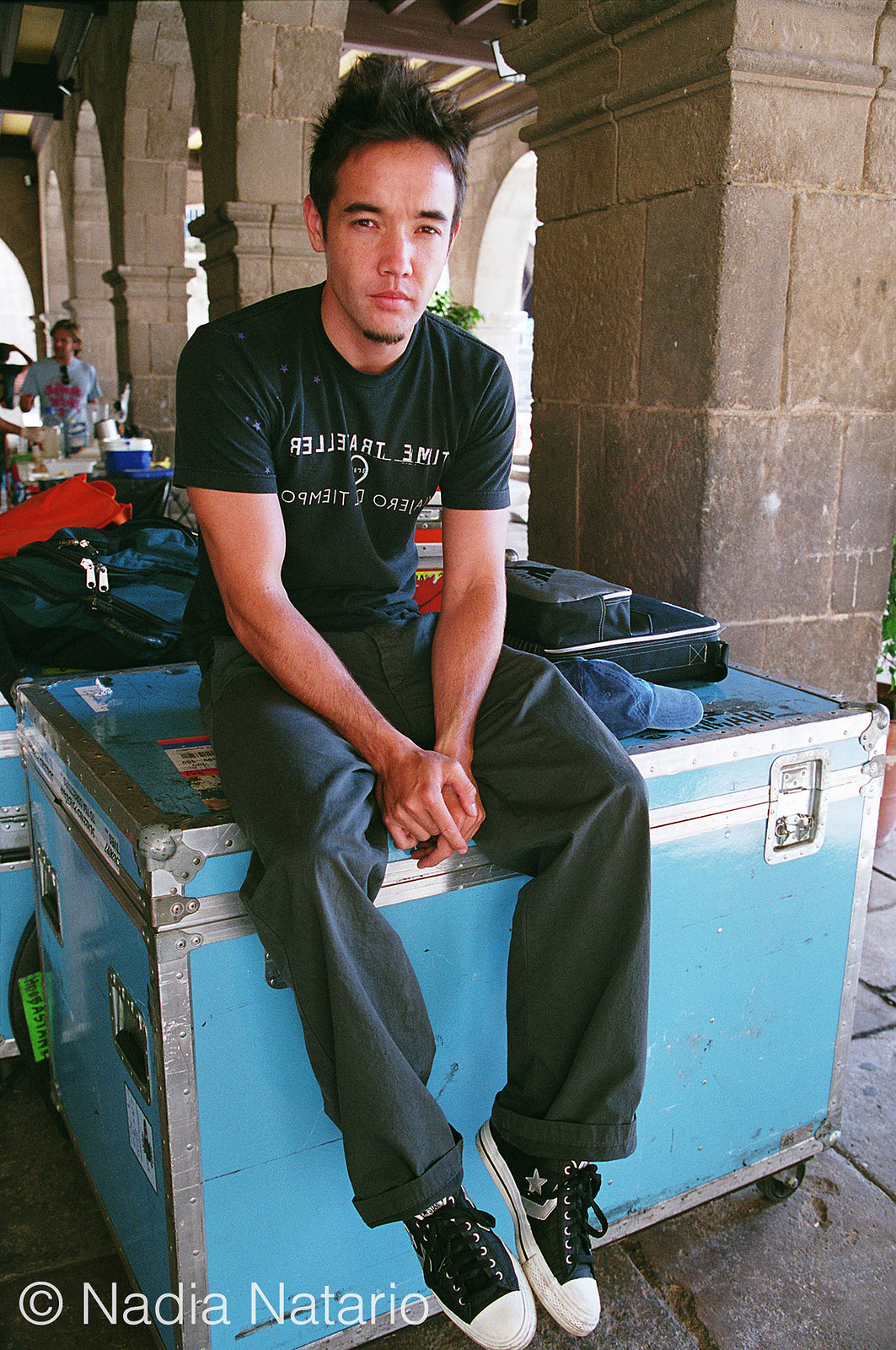 Douglas Robb of Hoobastank on set of their video shoot for 'Disappear', Barcelona 2004